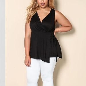 Tops - JUST IN!! Black Faux Wrap Tank Top